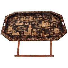 Spanish Chinoiserie Folding Tray Table, 1960s