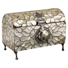 Spanish Colonial Antique Mother of Pearl Casket with Silver Mounts