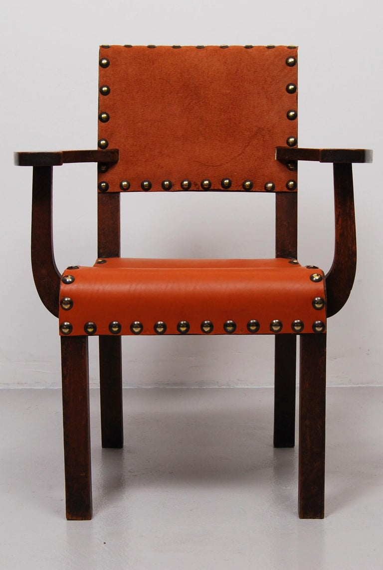 Unknown Spanish Colonial Armchair with New Leather Seat and Back For Sale