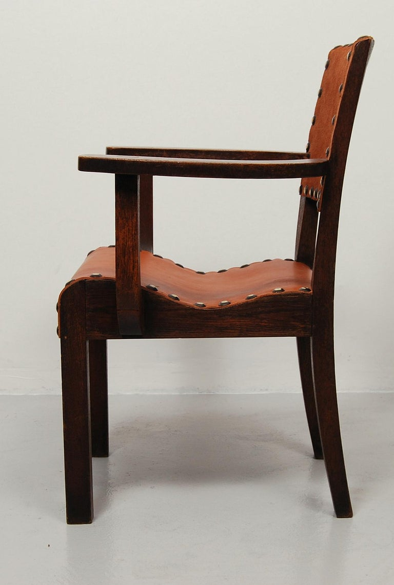 Spanish Colonial Armchair with New Leather Seat and Back In Good Condition For Sale In Stockholm, SE