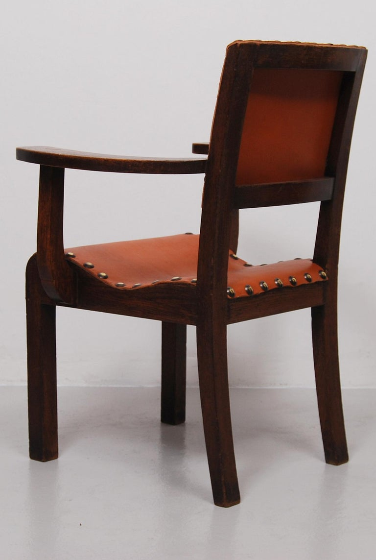 19th Century Spanish Colonial Armchair with New Leather Seat and Back For Sale