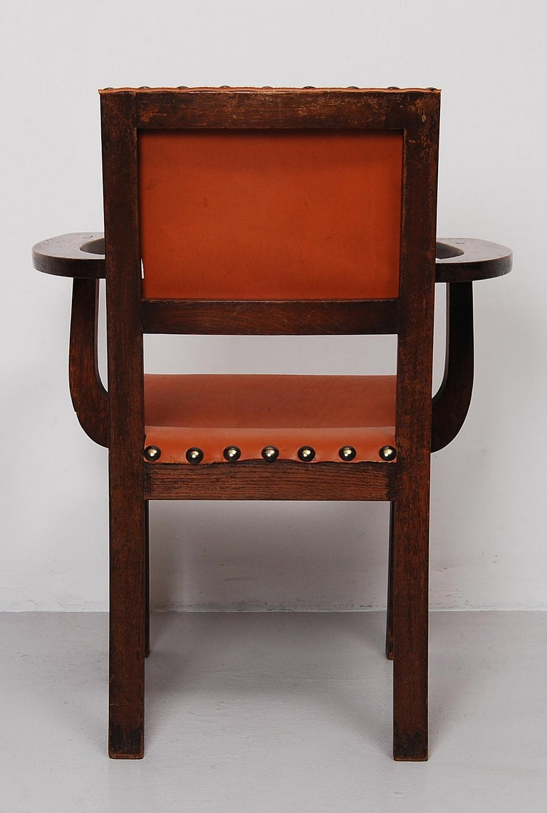 Hardwood Spanish Colonial Armchair with New Leather Seat and Back For Sale