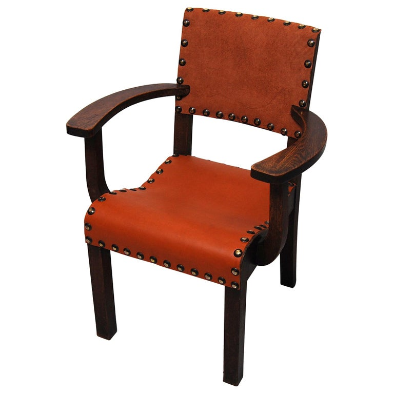 Spanish Colonial Armchair with New Leather Seat and Back For Sale