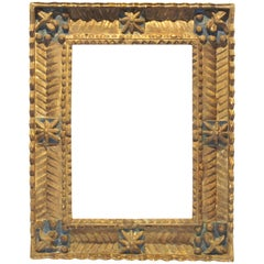 Spanish Colonial Baroque Deeply Carved Geometric Wood Frame