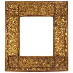 Spanish Colonial Baroque Giltwood Picture Frame with Heavy Carved Foliage