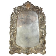 Spanish Colonial Baroque Repoussé Silver Ornate Mirror Frame