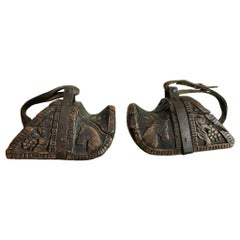 Spanish Colonial Carved Wood and Iron Stirrups