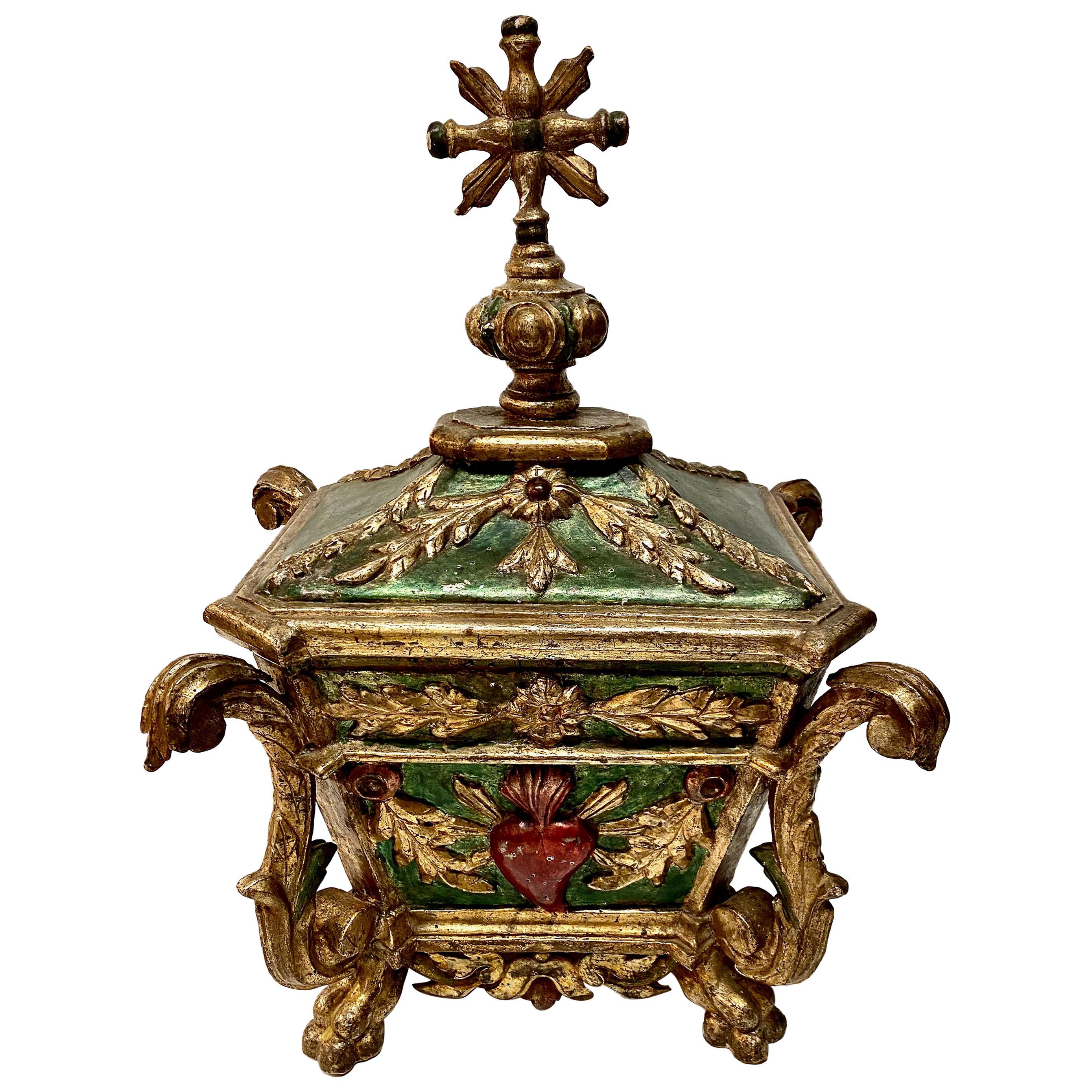 Spanish Colonial Gilt Wood Reliquary or Table Box