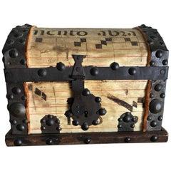 Spanish Colonial Iron Bound Vellum Covered Box