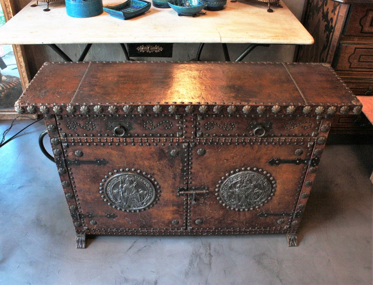 Repoussé Spanish Colonial Leather Credenza or Buffet with Silvered Iron Studs For Sale