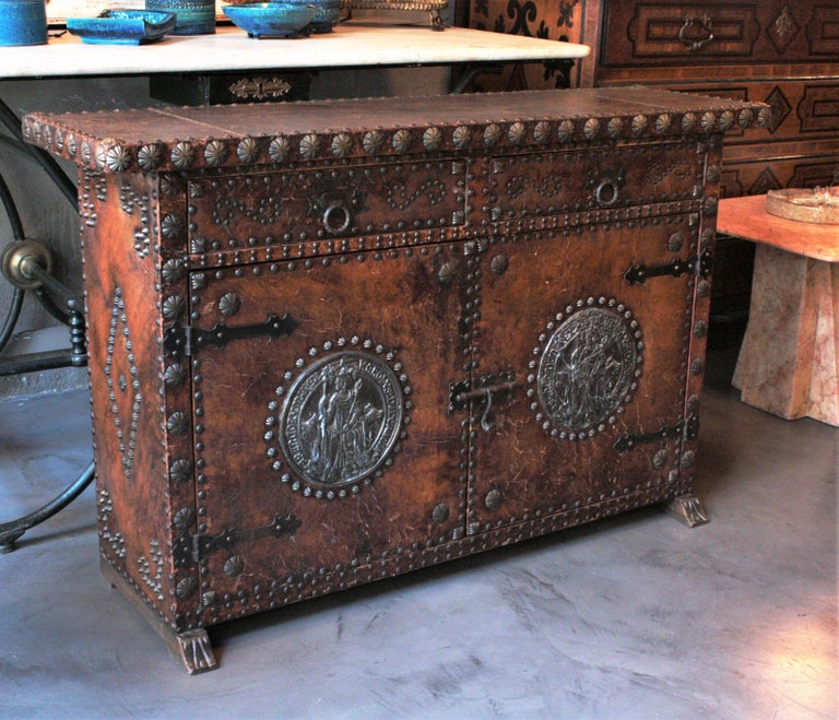 Wood Spanish Colonial Leather Credenza or Buffet with Silvered Iron Studs For Sale