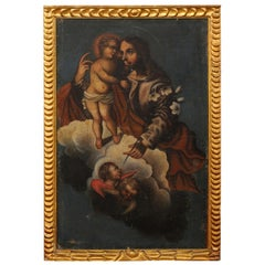 Spanish Colonial Painting of Jesus with Child, in 19th Century Gilt Frame