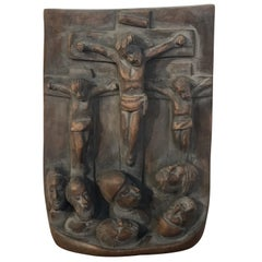 Spanish Colonial Religious Wood Carving Icon, Christ Crucified with Two Thieves