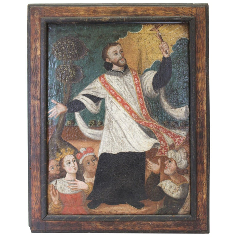 Spanish Colonial Saint Peter Claver Oil Painting For Sale