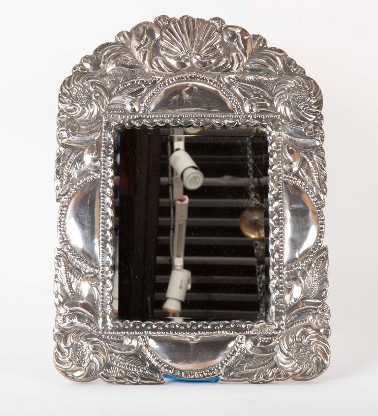 Peruvian Spanish Colonial Sterling Silver Mirror Frame For Sale