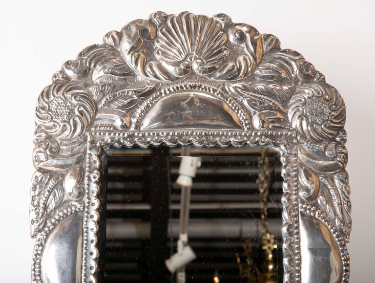 Repoussé Spanish Colonial Sterling Silver Mirror Frame For Sale
