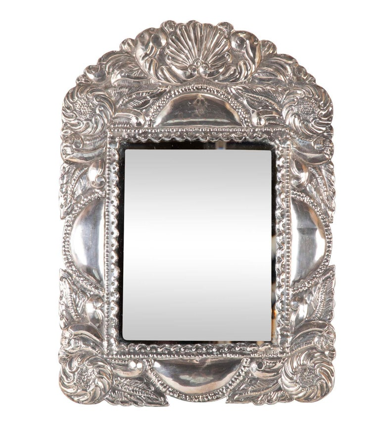 20th Century Spanish Colonial Sterling Silver Mirror Frame For Sale
