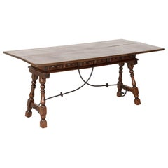 Spanish Colonial Style Flip Top Console Table in Walnut with Iron Stretcher