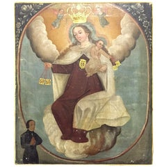 Spanish Colonial Style Madonna Oil on Canvas, 19th Century