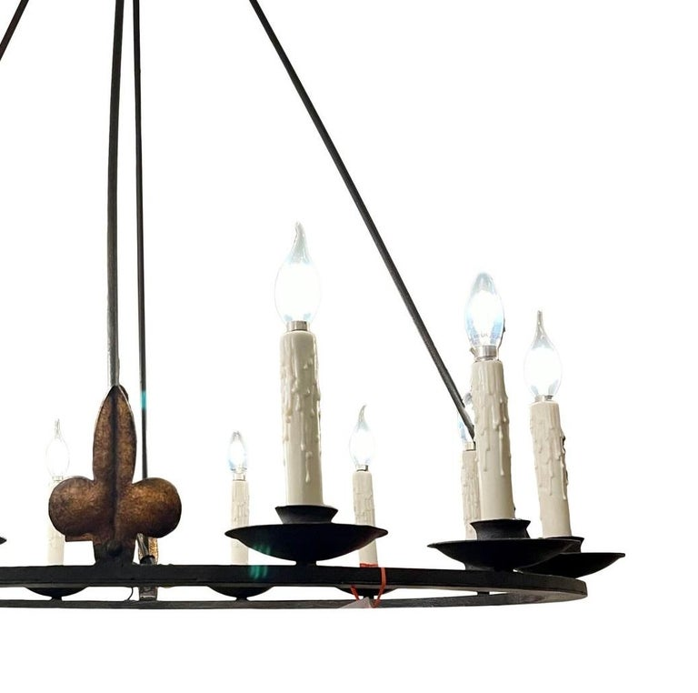 Spanish colonial wrought iron 12 lite chandelier by Randy Esada for PROSPR.