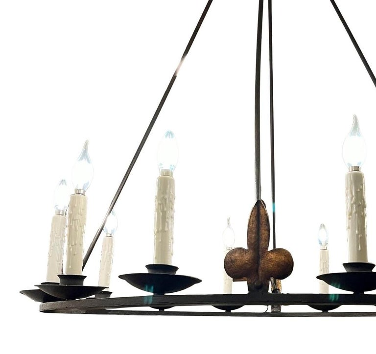 North American Spanish Colonial Wrought Iron 12 Lite Chandelier by Randy Esada for Prospr For Sale