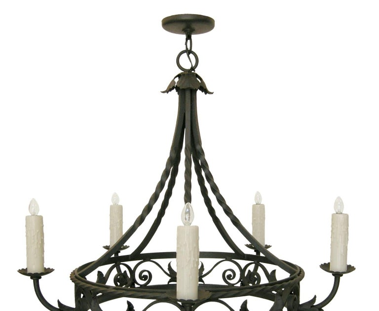 North American Spanish Colonial Wrought Iron Five-Light Chandelier by Randy Esada For Sale