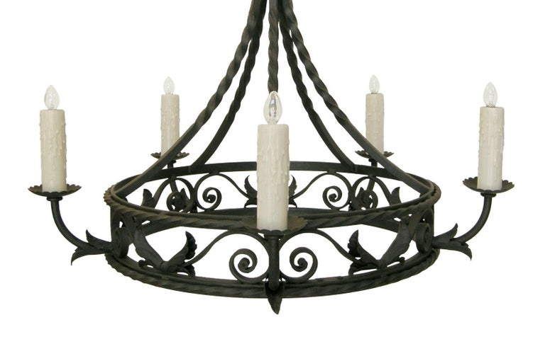 Spanish Colonial Wrought Iron Five-Light Chandelier by Randy Esada In Good Condition For Sale In LOS ANGELES, CA