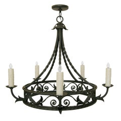 Spanish Colonial Wrought Iron Five-Light Chandelier by Randy Esada