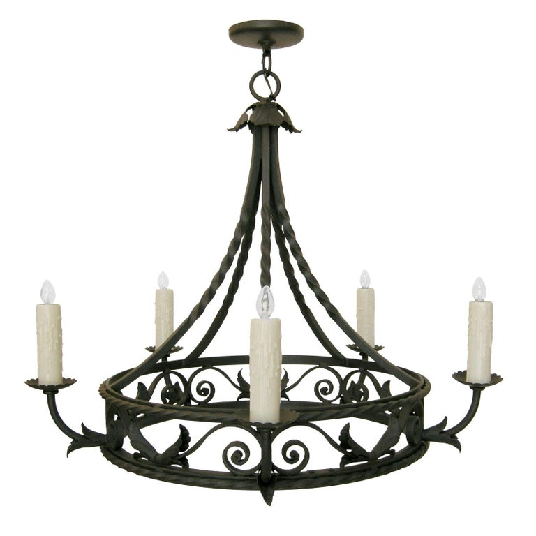 Spanish Colonial Wrought Iron Five-Light Chandelier by Randy Esada For Sale