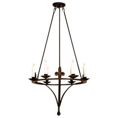 Spanish Colonial Wrought Iron Six-Light Chandelier by Randy Esada