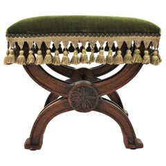 Spanish Curule Stool in Wanut with Green Velvet Fringed Seat