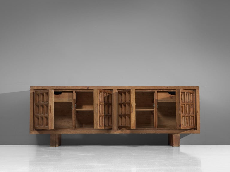 Mid-Century Modern Spanish Sideboard in Stained Pine Manufactured by Biosca For Sale