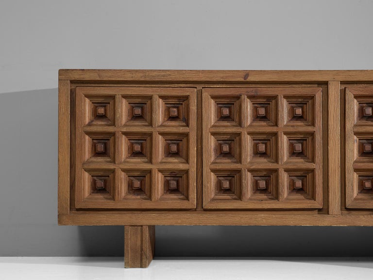 Mid-20th Century Spanish Sideboard in Stained Pine Manufactured by Biosca For Sale