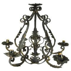 Spanish Decorative Iron Six-Light Chandelier