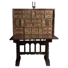 Spanish Desk or Cabinet or Bargueño, 17th Century, Stool or Base, 19th Century