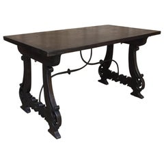 Spanish Dining Table, 19th Century, in Walnut and Wrought Iron