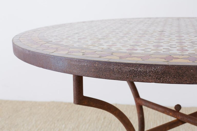Spanish Dining Table with Moroccan Mosaic Tile Inlay For Sale 5