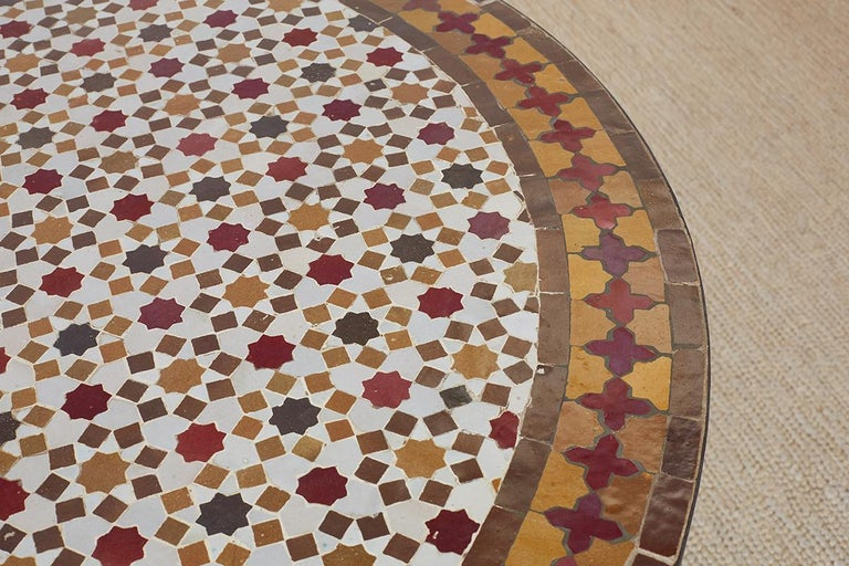 Spanish Dining Table with Moroccan Mosaic Tile Inlay For Sale 6