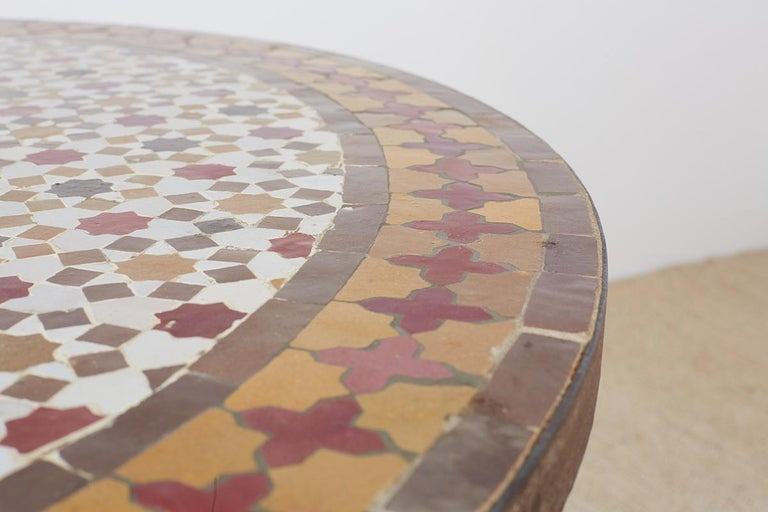 Spanish Dining Table with Moroccan Mosaic Tile Inlay For Sale 7