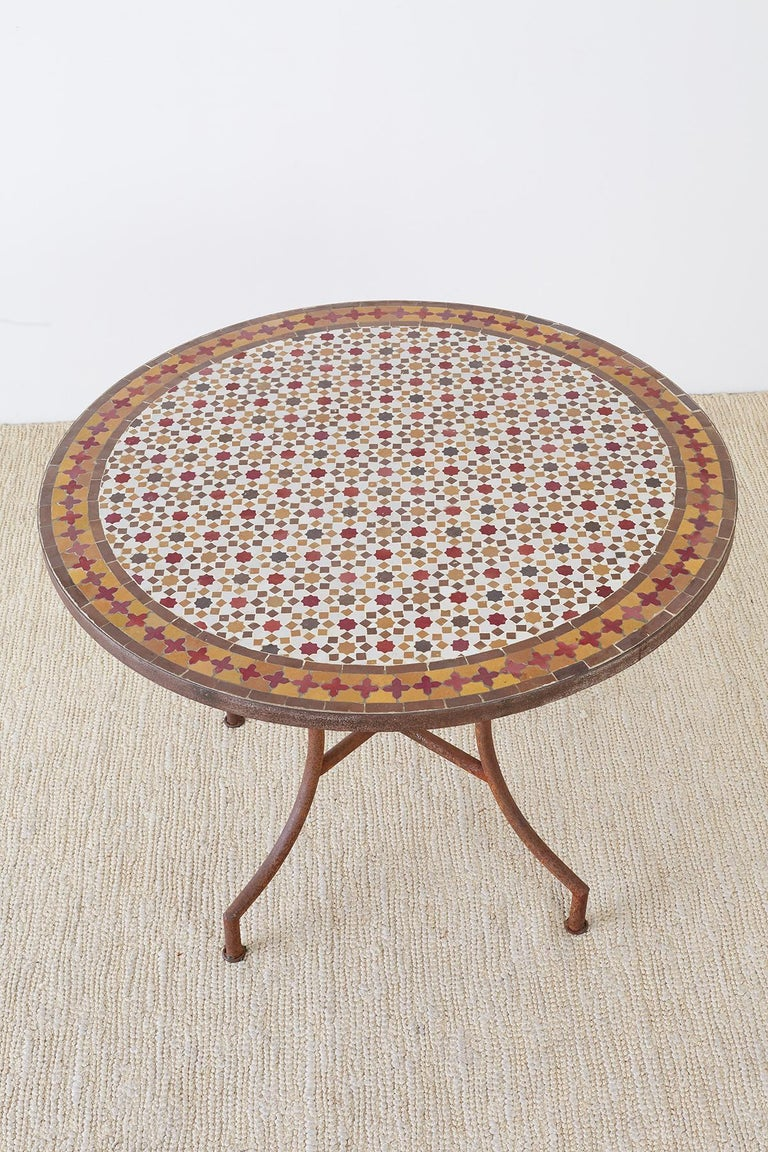 Spanish Dining Table with Moroccan Mosaic Tile Inlay For Sale 8