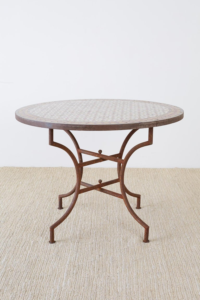 Moorish Spanish Dining Table with Moroccan Mosaic Tile Inlay For Sale