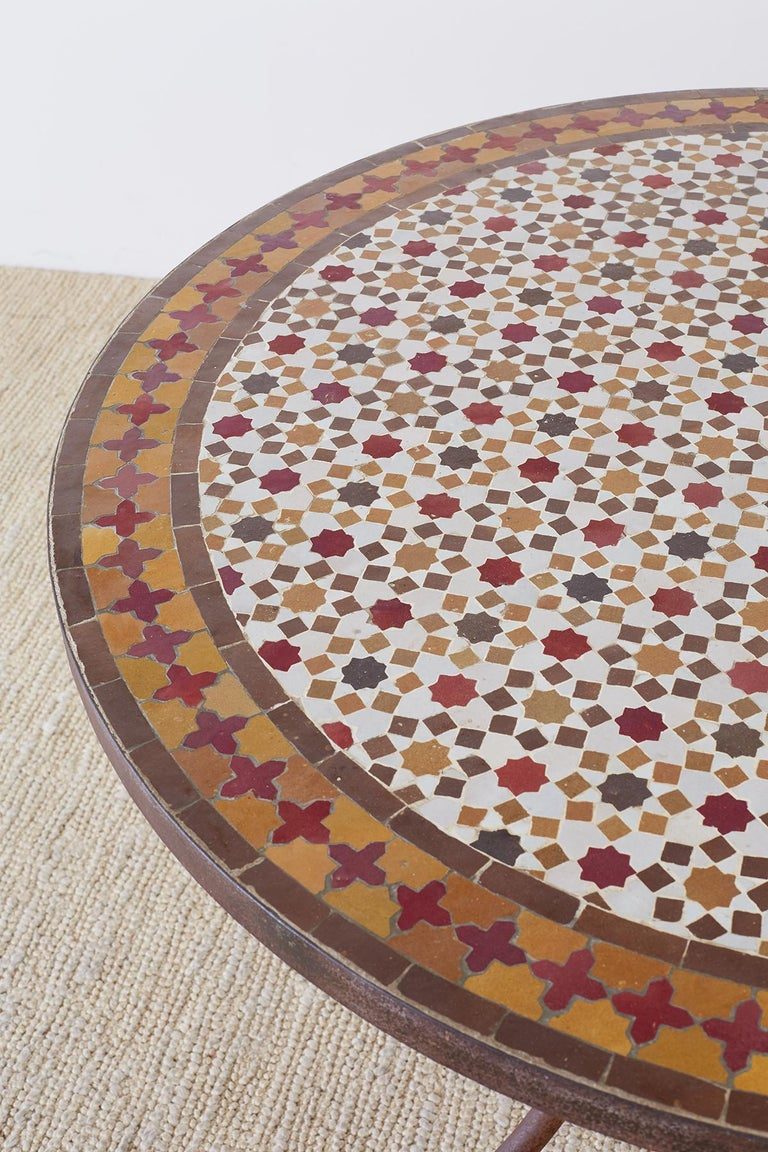 Hand-Crafted Spanish Dining Table with Moroccan Mosaic Tile Inlay For Sale
