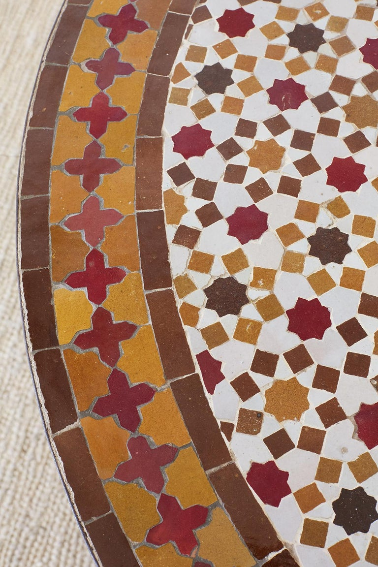 20th Century Spanish Dining Table with Moroccan Mosaic Tile Inlay For Sale
