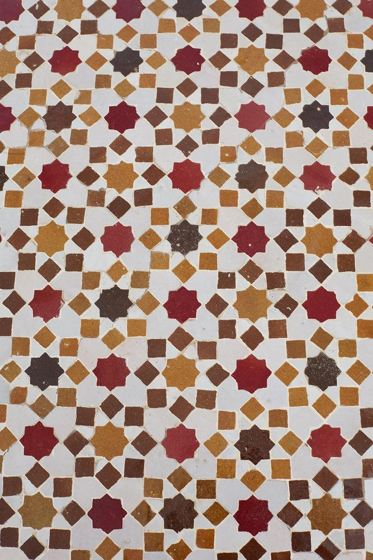 Stone Spanish Dining Table with Moroccan Mosaic Tile Inlay For Sale