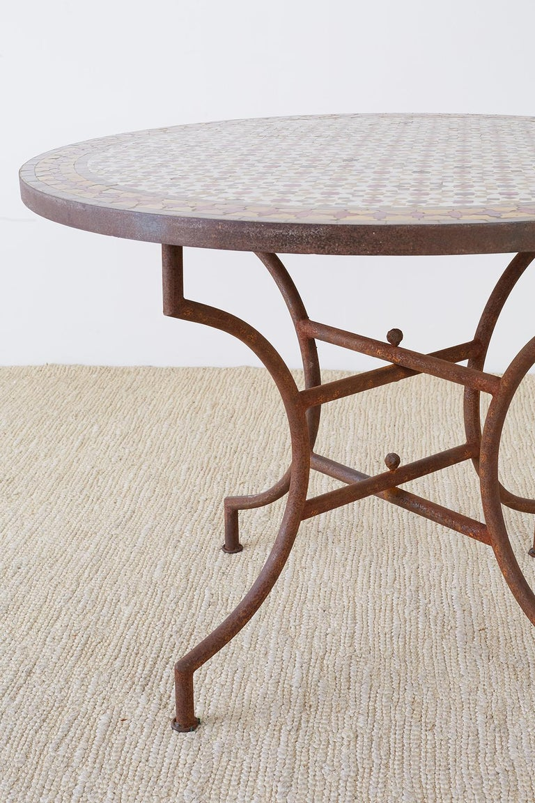 Spanish Dining Table with Moroccan Mosaic Tile Inlay For Sale 1