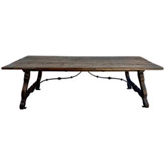 Spanish Dining Trestle Table with Iron Stretcher, circa 1930s