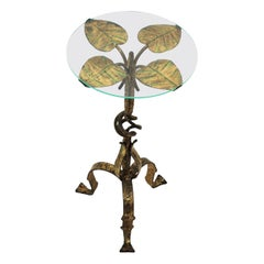 Spanish Drinks Table or Side Table with Foliage Design, Gilt Iron and Glass
