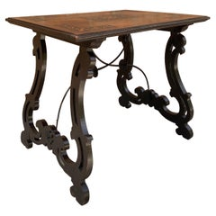 Spanish Early 19th Century Baroque Side Table with Lyre Legs and Marquetry Top