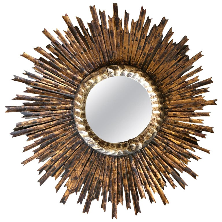 Spanish Early 20th Century Sunburst Mirror For Sale