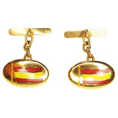 Spanish Enamel Flag Cufflinks in 18 Karat Yellow Gold